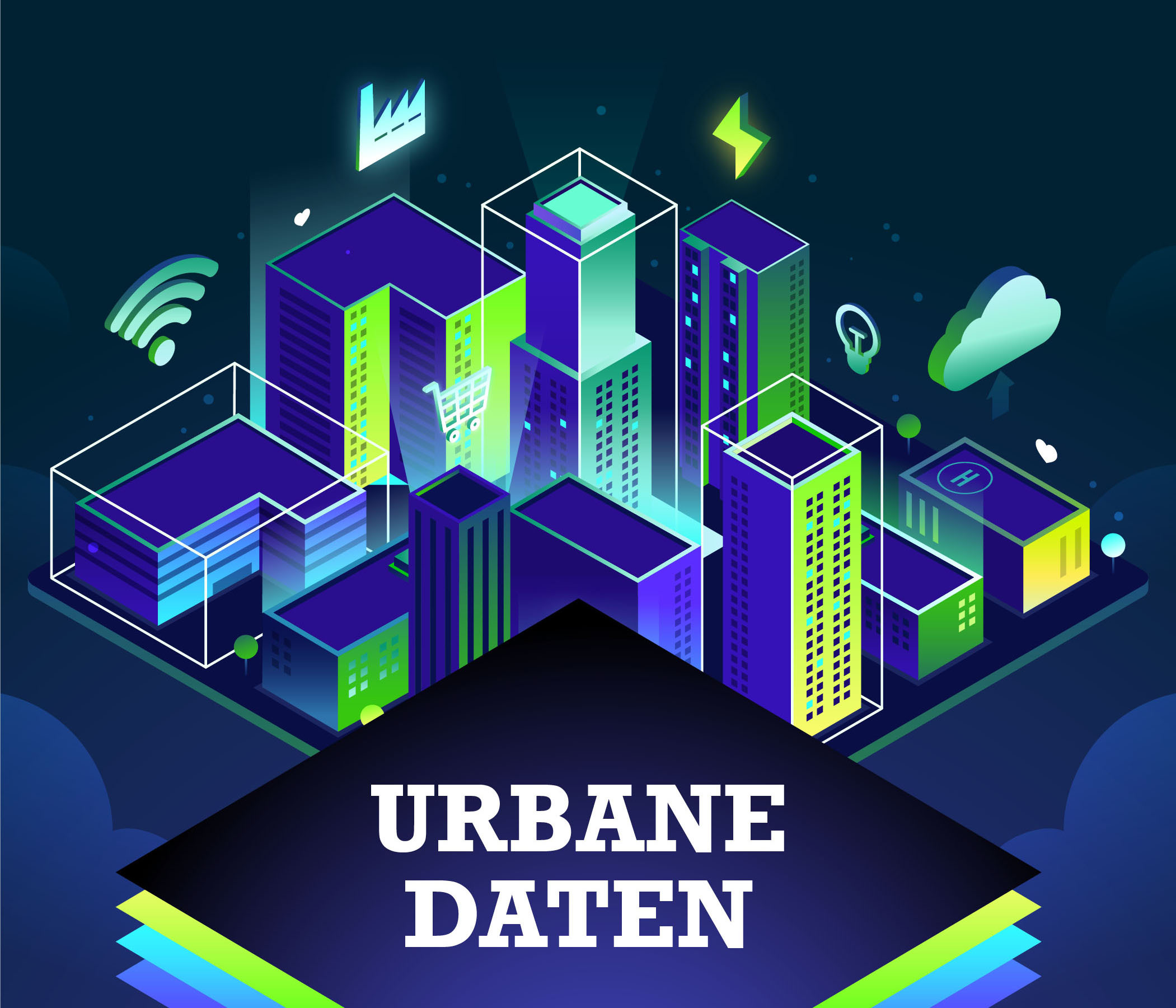 "Neon-blue and green builduings surrounded by symbols like the wifi-signal, a cloud, a flash of lightning. With the title ""Urbane Daten"" (Urban Data) in the foreground. © City of Leipzig, Digital City Unit, Taras Kompaniets"