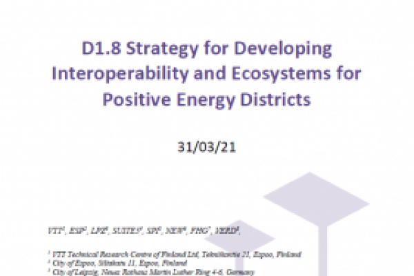 SPARCS DELIVERABLE : D1.8 Strategy for Developing Interoperability and Ecosystems for Positive Energy Districts